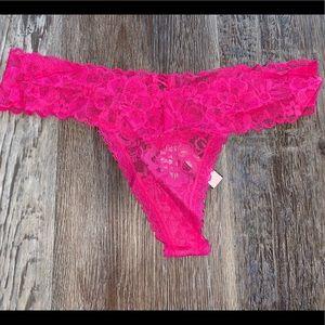 Victoria Secret hot pink lace thong panty
